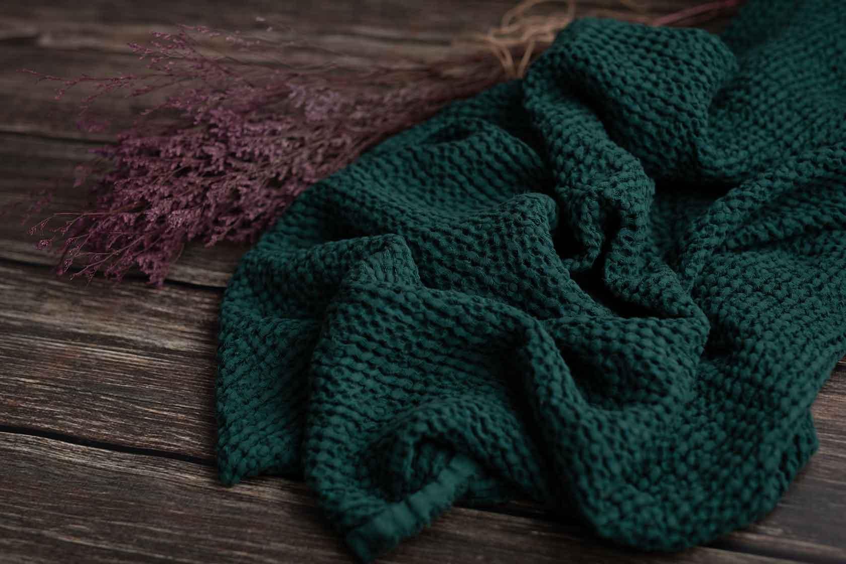 Leinen-cotton-waffel-emerald
