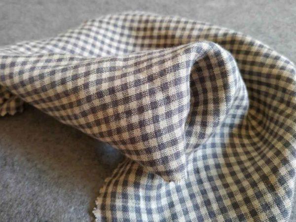 Leinen gewaschen Karomuster 3 x 3 mm |  Beige grau