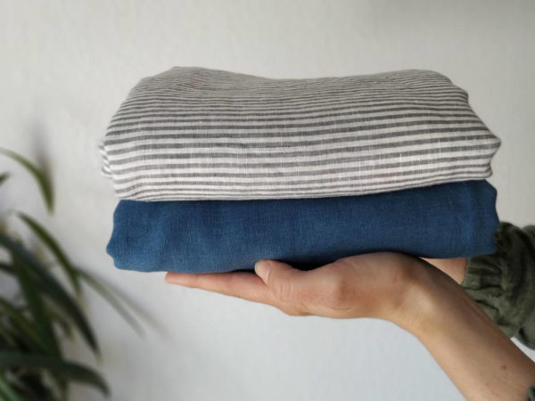 Leinen gewaschen Streifen 130 g/m2 | Blau