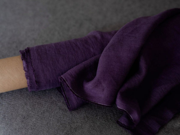 Leinen gewaschen Uni 200 g/m2 | Aubergine