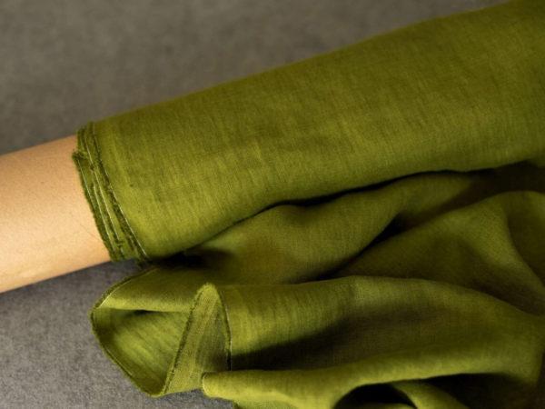 Leinen gewaschen Uni 200 g/m2 | Olive