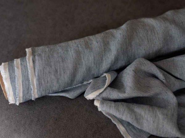 Leinen gewaschen Streifen 210 g/m2 | Dunkelblau