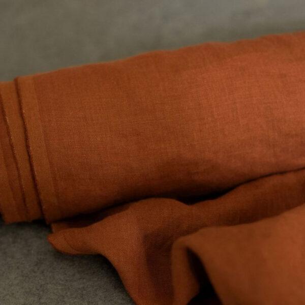 Leinen gewaschen Uni 200 g/m2 | Terrakotta