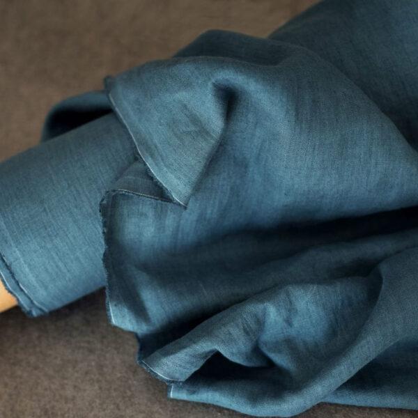 Leinen gewaschen Uni 200 g/m2 | Jeansblau