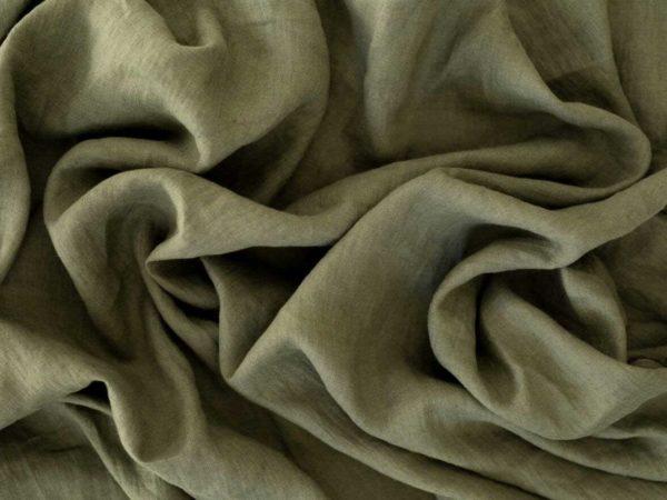 Leinen gewaschen Uni 200 g/m2 | Khaki