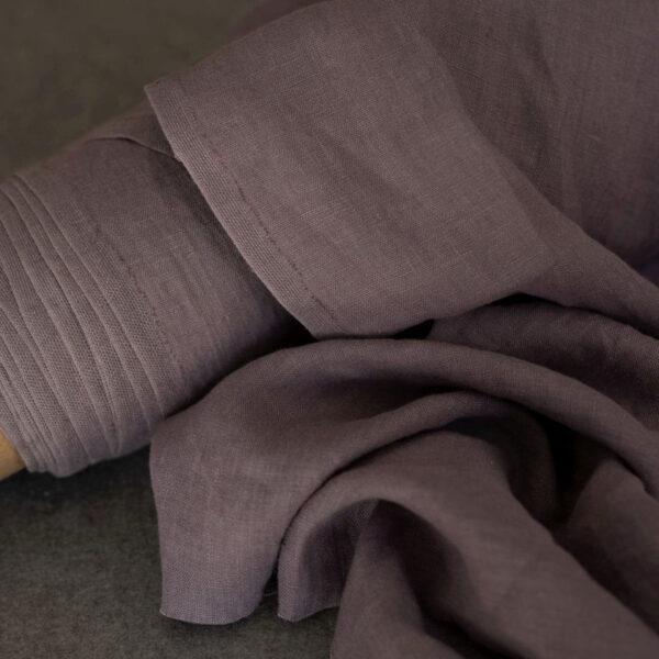 Leinen gewaschen Uni 200 g/m2 | Taupe-Pastel Lila