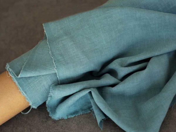 Ramie vorgewaschen Uni 250 g/m2 | Taubenblau
