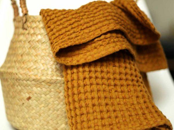 Waffel Handtücher aus Leinen/ Cotton | Mustard
