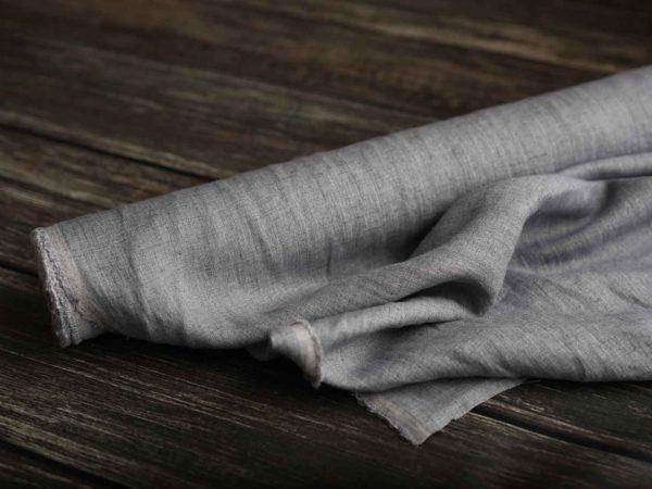 Leinen gewaschen Uni 195 g/m2 | Grau melange