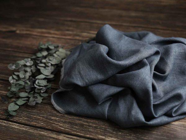 Leinen-Wolle gewaschen Uni 240 g/m2 | Jeans