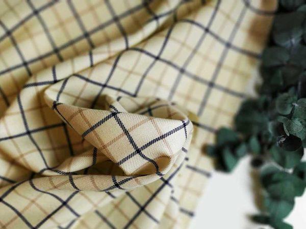 Wollstoff Karo | Creme-Beige-Marine