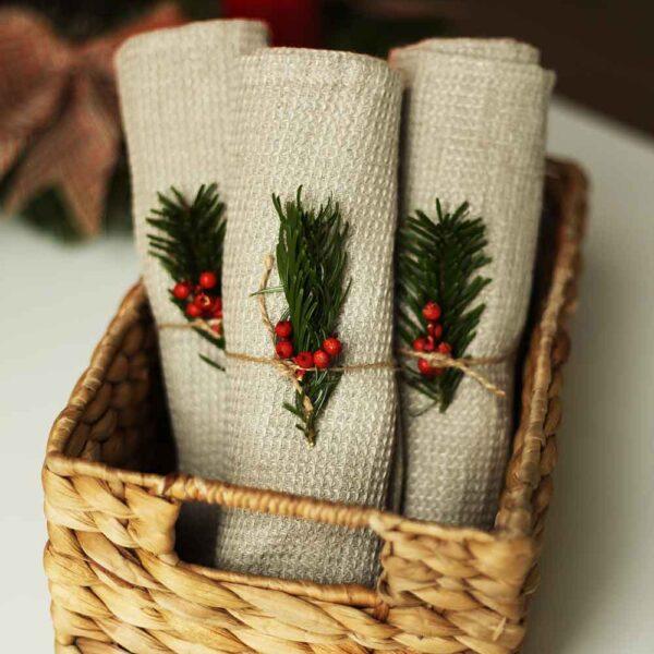 Waffel Handtücher aus Leinen| Natur