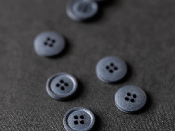 Cotton Button 15mm   Silt Grey