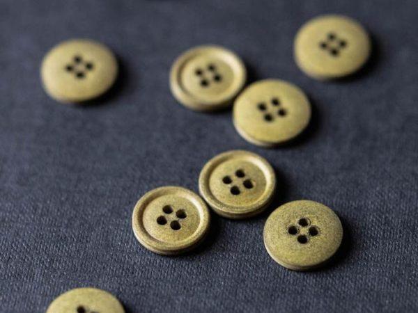 Cotton Button 15mm    Pine