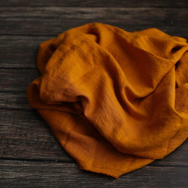Leinen gewaschen Uni 200 g/m2 | Curcuma