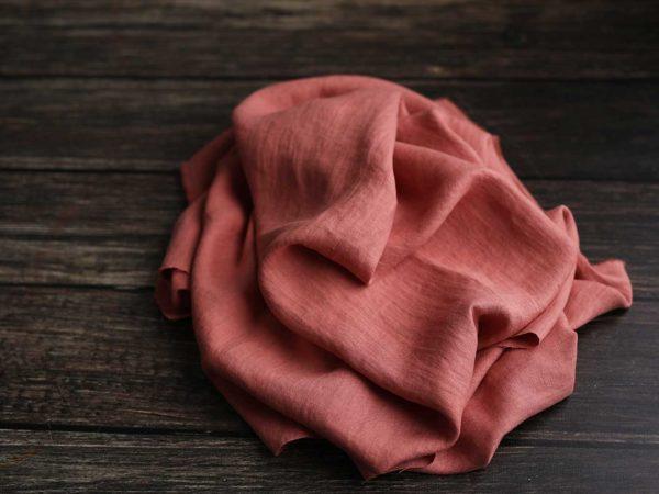 Leinen gewaschen Uni 200 g/m2 | Salmon Rose