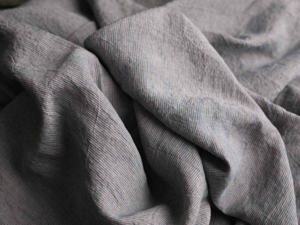 Leinen gewaschen Streifen schmal 200 g/m2 | blau/ natur