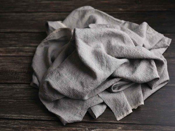 Leinen gewaschen Streifen 200 g/m2 | blau/ natur