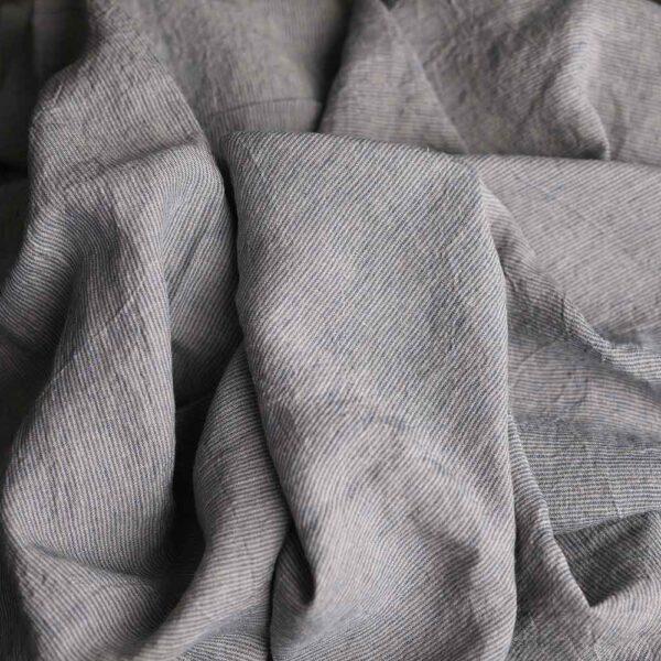 Leinen gewaschen Streifen 210 g/m2 | Natur/ Blau