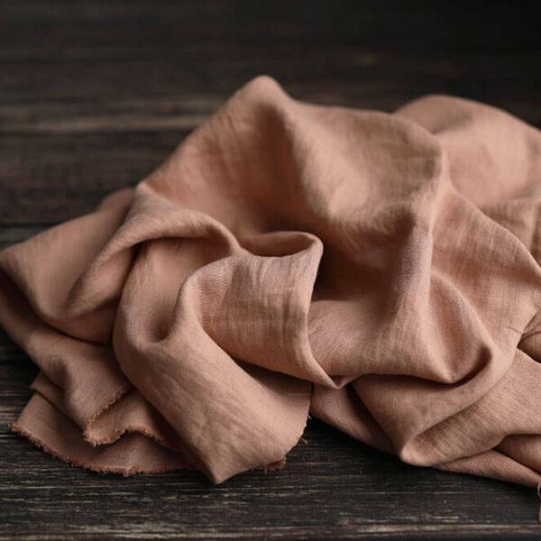 Leinen gewaschen Uni 200 g/m2 | Clay