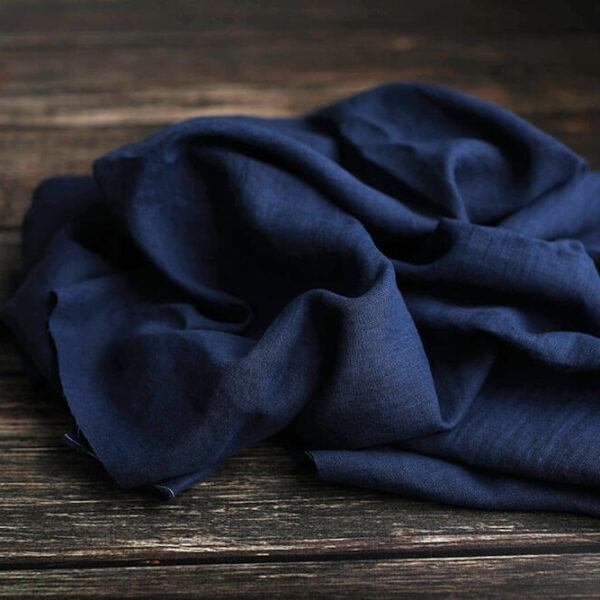 Leinen gewaschen Uni 200 g/m2 | Marine Blau