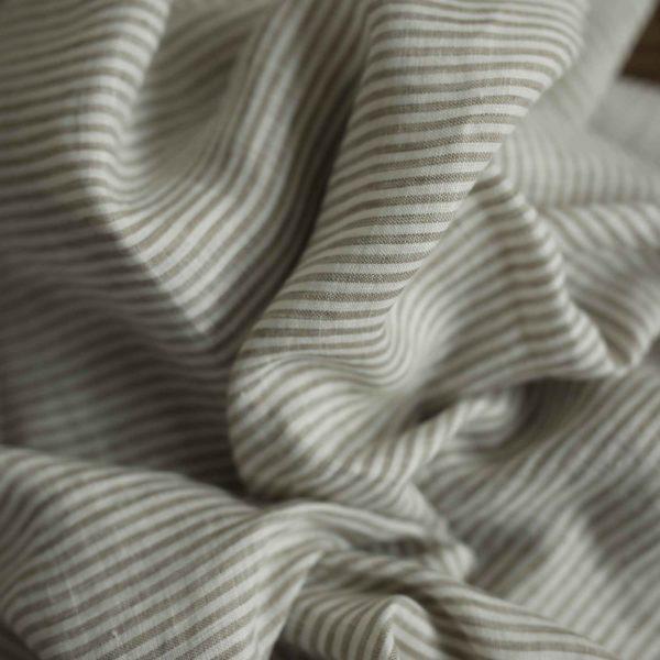 Leinen gewaschen Streifen 130 g/m2 | Beige