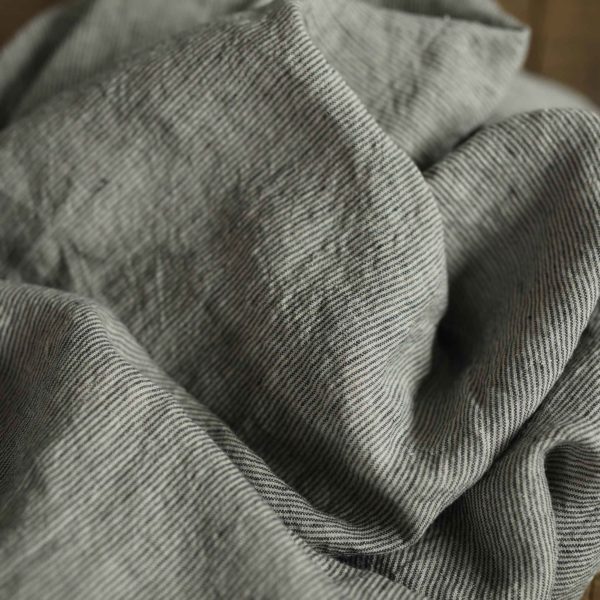 Leinen gewaschen Streifen 210 g/m2 | Natur/ Schwarz