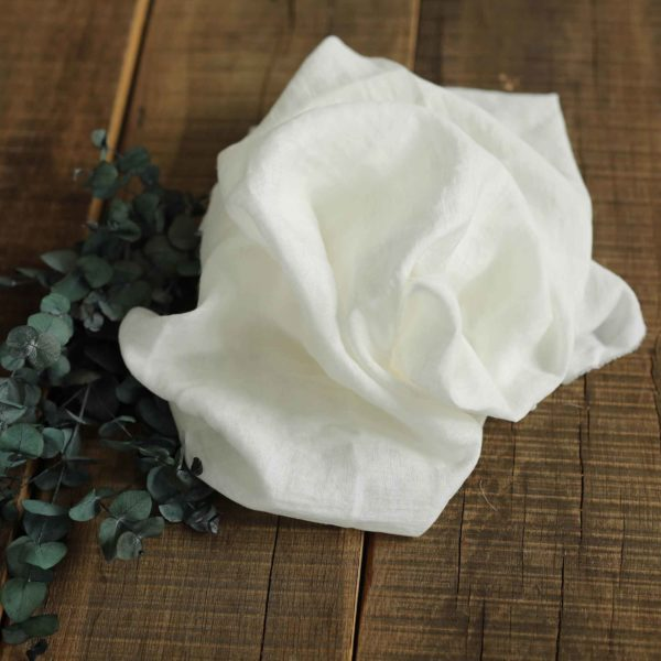 Leinen gewaschen Uni 130 g/m2 | Weiß