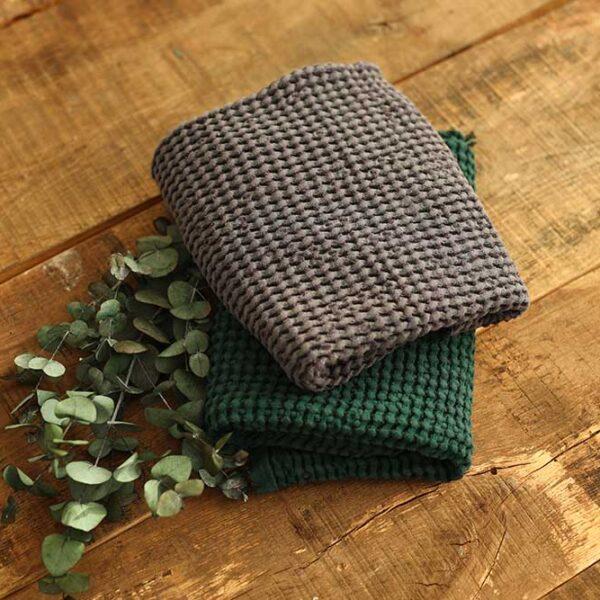 Leinen gewaschen Waffel 400 g/m2 | Emerald