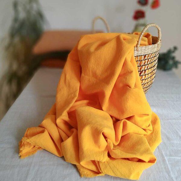 Halbleinen gewaschen Uni 170 g/m2 | Mango