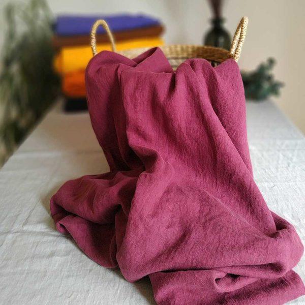 Leinen gewaschen Uni 210 g/m2 | Beere