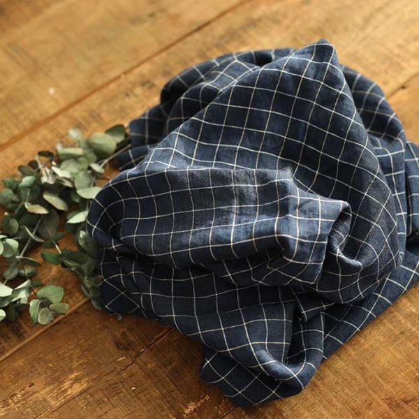 Leinen gewaschen Karo 190 g/m2 | Blau – Weiß
