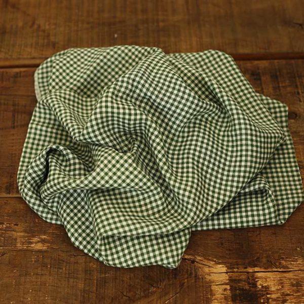 Leinen gewaschen Karo 115 g/m2  | Grün